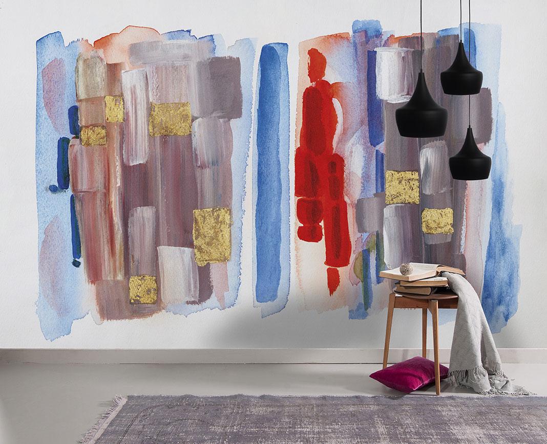 Photo d'un mur imprimé avec le visuel d'une peinture moderne nommé Forme et mouvement citadine II
