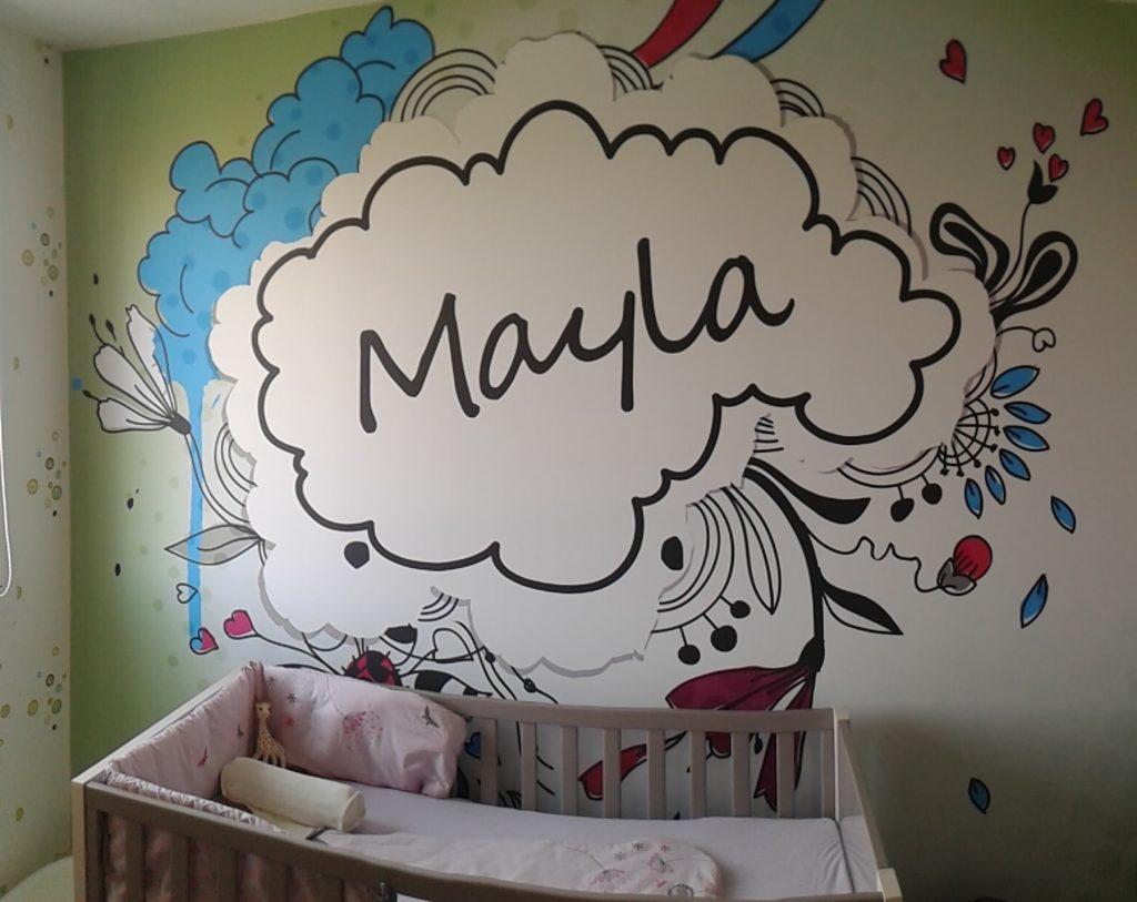Mur imprimé avec un décor pour chambre d'enfant