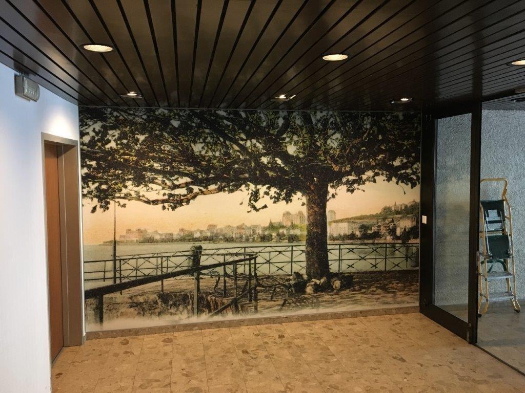 Photo d'un mur imprimé à partir d'une ancienne carte postale représentant un arbre et berges
