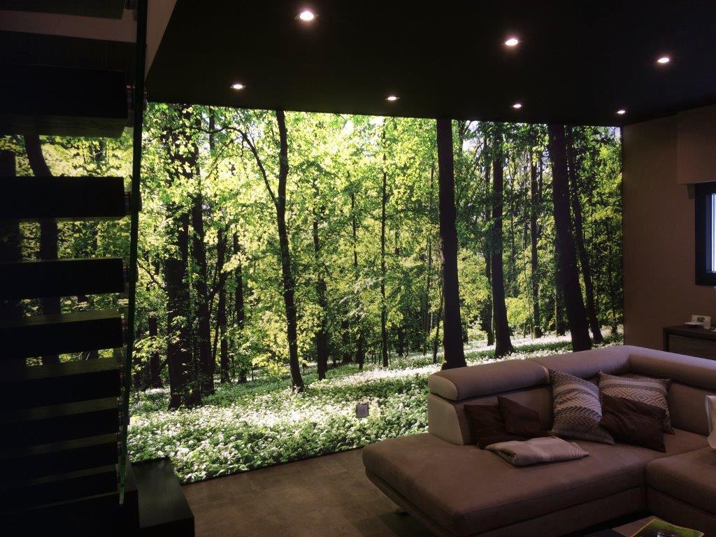 photo d'un salon avec un mur imprimé sur du translucide et rétroéclairé avec un visuel forêt