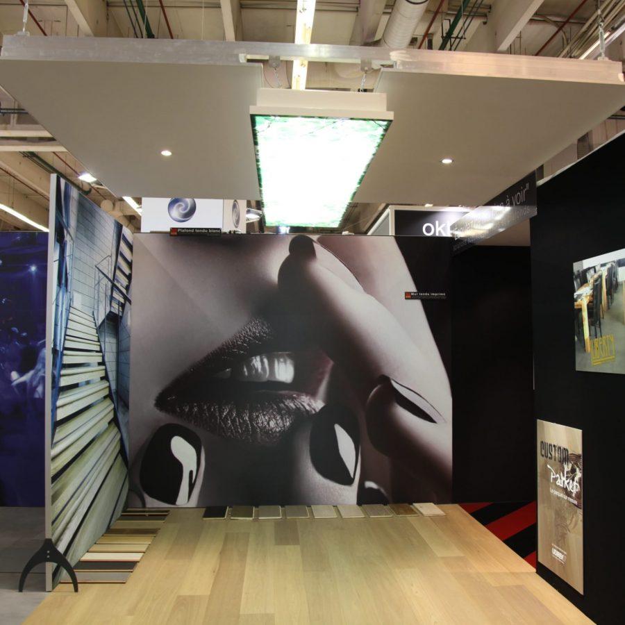photo de cadres acoustiques sur pied, avec un visuel d'escalier et une bouche de femme