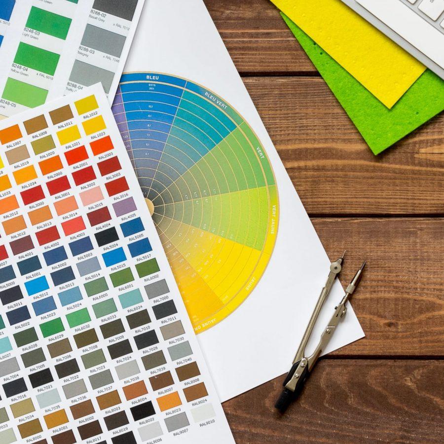 Photo de palettes d'échantillon couleur