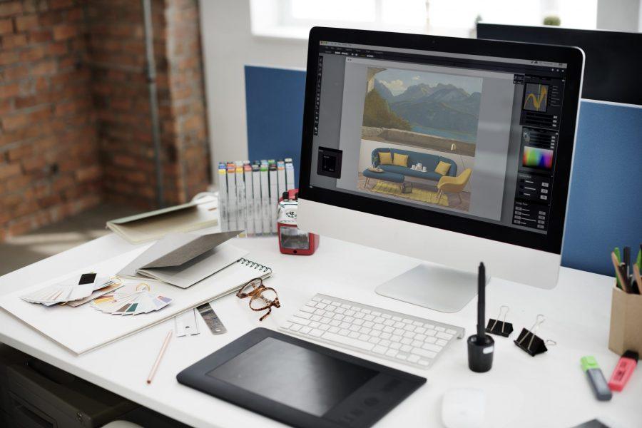 photo des outils du studio graphique